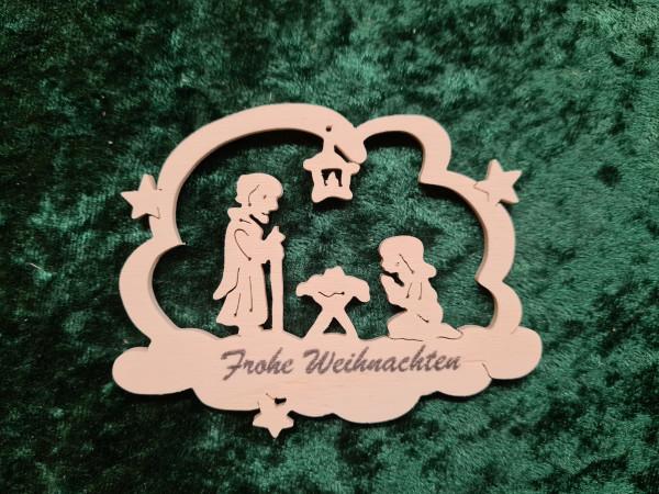 Heilige Familie mit Frohe Weihnachten