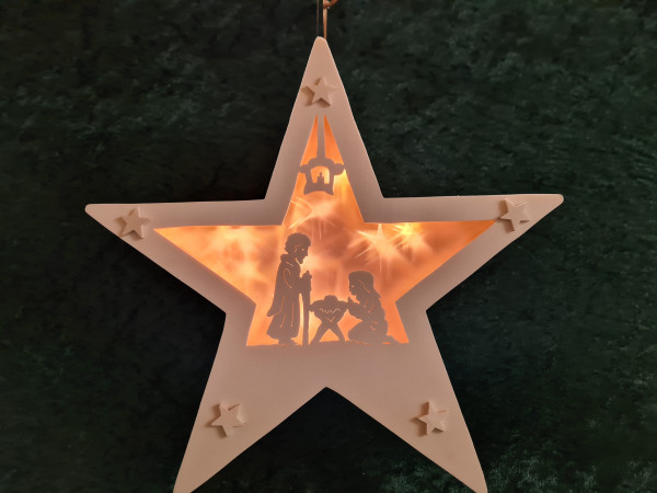 Stern heilige Familie mit Sternenfolie Batteriebetrieben
