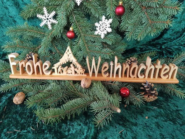 Holz Schriftzug Deko, Frohe Weihnachten mit Motiv