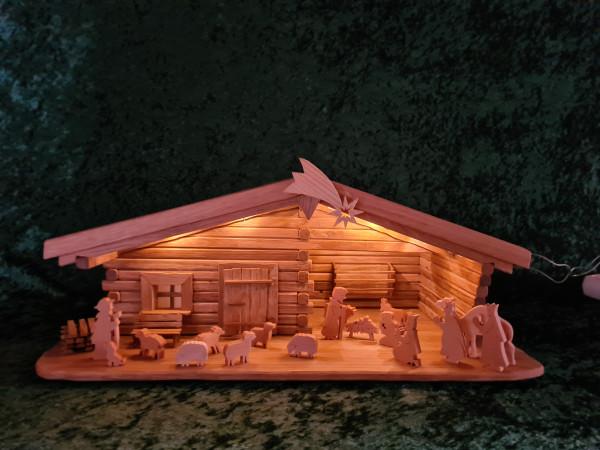 Blockhaus - Krippe mit Figuren