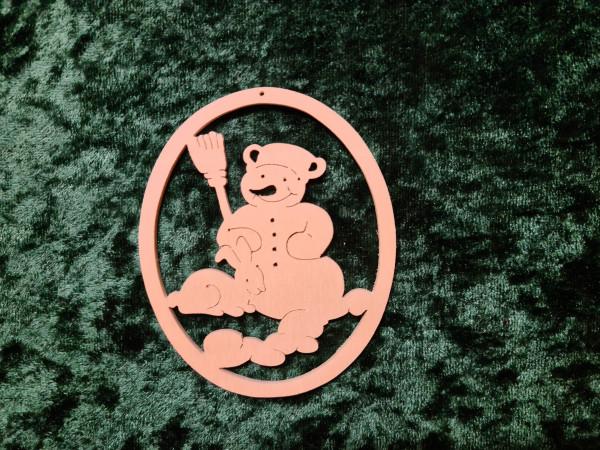 Schneemann mit Hase Oval