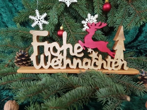 Holz Schriftzug Deko, Frohe Weihnachten mit Rentier