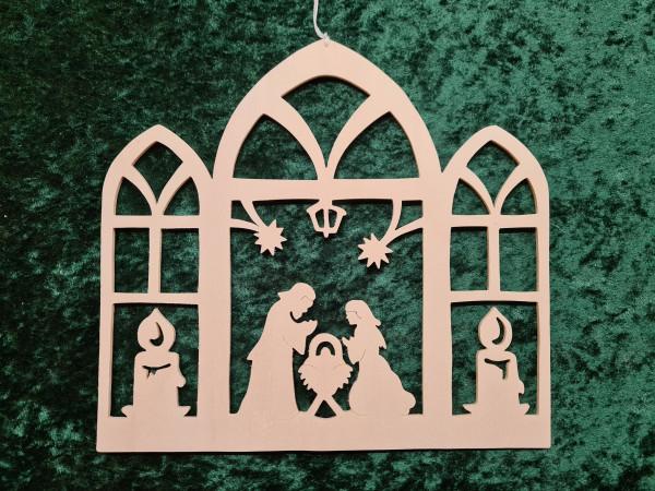 Heilige Familie im Fenster