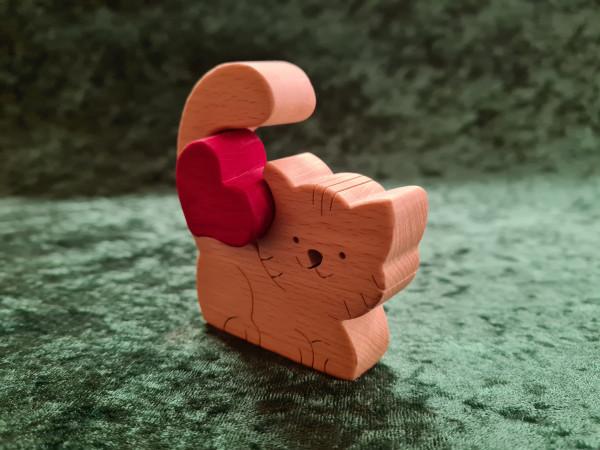 Massivholz - Puzzle Katze mit Herz
