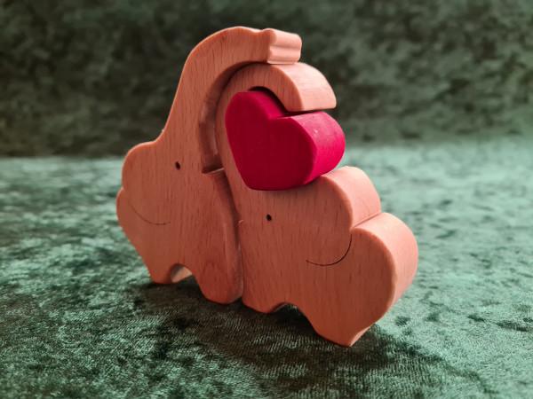 Massivholz - Puzzle Elefantenpaar mit Herz