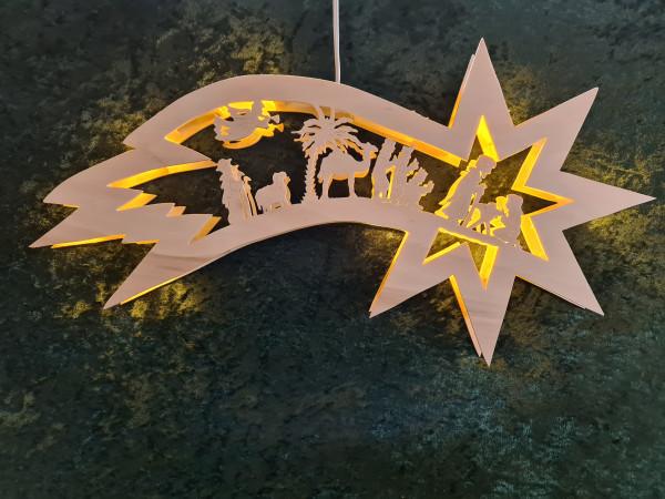 Komet mit Heiliger Familie mit mini LED - Lichterkette