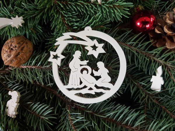 Heilige Familie in der Weihnachtskugel