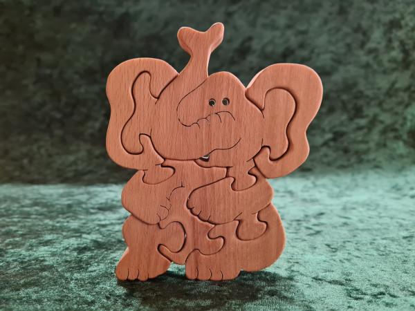 Massivholz - Puzzle - Elefant