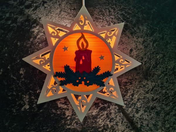 Kerze im Stern gebeizt
