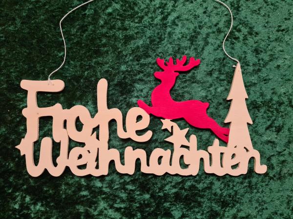 Schriftzug Frohe Weihnachten mit Rentier
