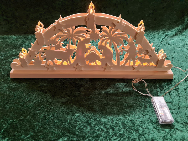 Schwibbogen - Heilige Familie außen Kerzen - Batterie betrieben
