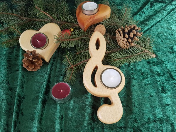 Notenschlüssel-Teelichthalter in verschiedene Holzarten