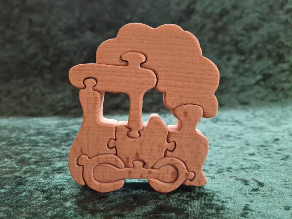 Massivholz - Puzzle - Lokomotive