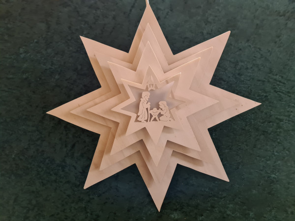 Leuchtstern - Sperrholz Heilige Familie